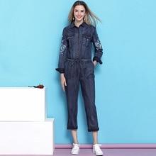 купить Vintage Embroidered Denim Jumpsuit Women2019 Spring New Arrival Slim Thin Drawstring Waist Casual jumpsuit mujer NW19B6027 дешево