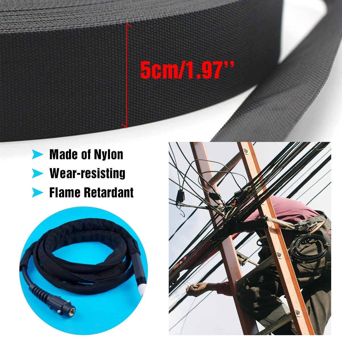 25/' Nylon Protective Gear Sleeve Sheath Cable Cover Welding Torch Hydraulic