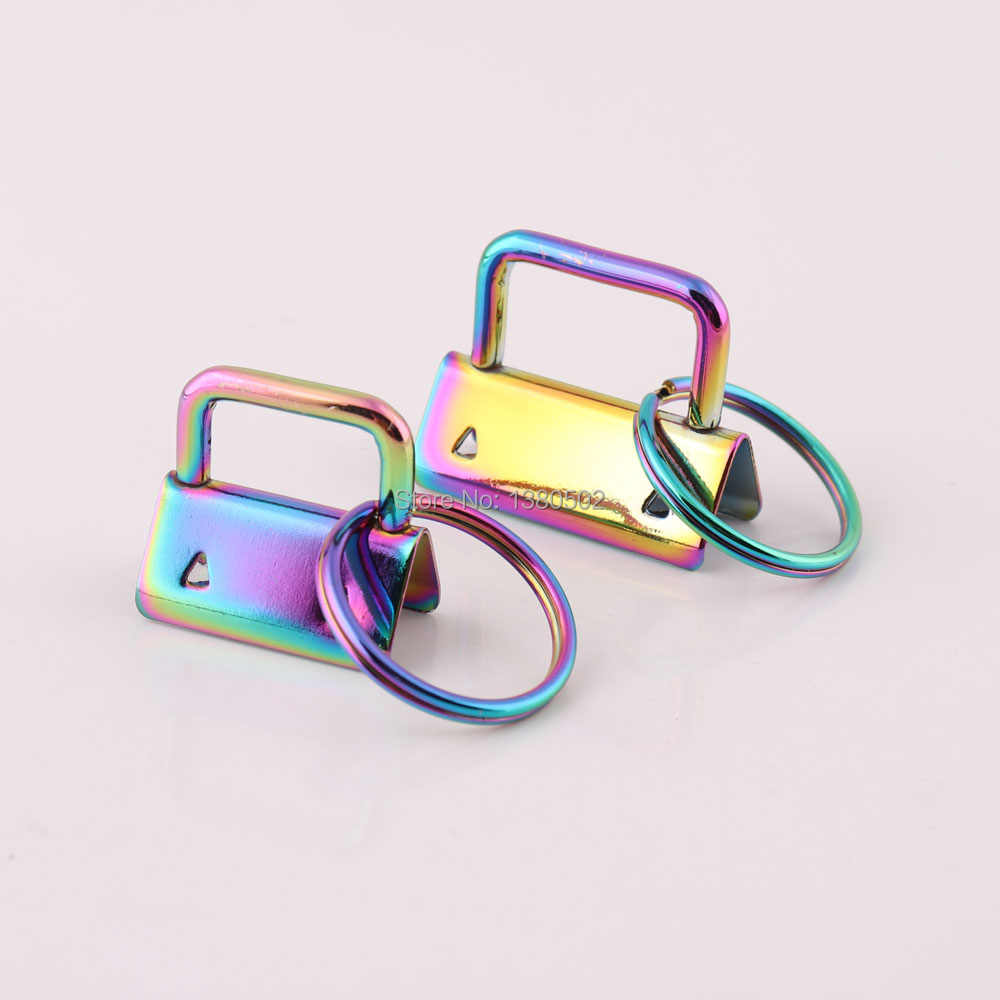 10pcs  lot Fashion 25 32mm Rainbow Color Metal Key Fob Hardware with key  ring eaff50548c9a