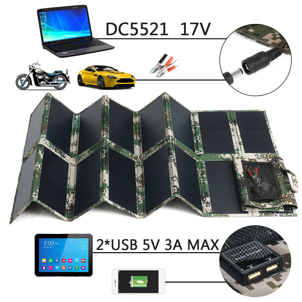 17V 100W Folding Foldable Waterproof Solar Panel Charger Mobile Power Bank 2 USB Port 5V 3A DC5521 For Phone Laptop Car Outdoor17V 100W Folding Foldable Waterproof Solar Panel Charger Mobile Power Bank 2 USB Port 5V 3A DC5521 For Phone Laptop Car Outdoor