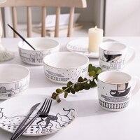 White Animal Ceramic Cartoon Kid Food Plate Dish Rice Salad Bowl Dessert Plate Tableware Set Porcelain Rice Bowl Coffee Mug Gift
