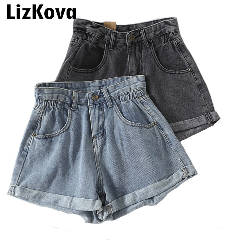 Denim   Shorts   2019 Summer High Waist Hot   Shorts   Wide Leg Bottoms Schoolgirl Cowboy Tight Women Clothes Sexy Streetwear