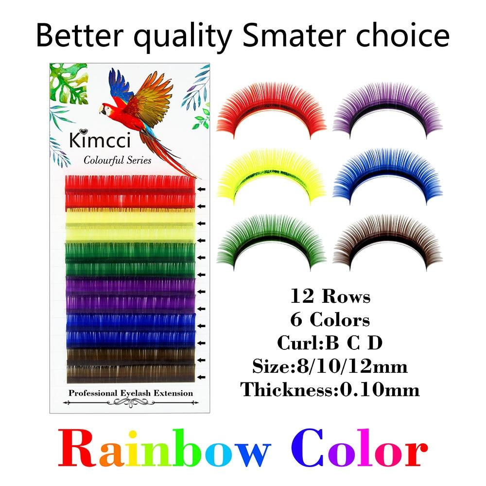 Kimcci 6Colors Mix Rainbow Color False Eyelassh Extension Professional Colorful Natural Long Faux Mink Eyelashes Maquiagem Cilio