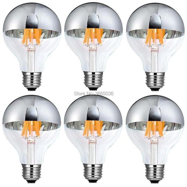 6pcs G80 6W (60W Equivalent) LED Light Bulbs Globe Edison Silver Tipped Top Mirror E26 E27 Medium Base 2700k 6000k 120v/220v