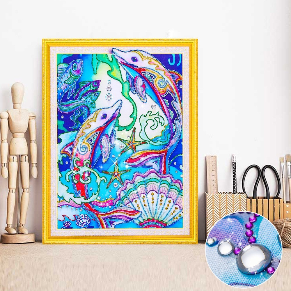 HUACAN DIY Diamond Embroidery Dolphin Rhinestone Picture Special Shape Diamond Painting Animal Mosaic Kit 40x50HUACAN DIY Diamond Embroidery Dolphin Rhinestone Picture Special Shape Diamond Painting Animal Mosaic Kit 40x50