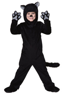 Image 2 - Black Cat Costume For Men Women Child Cosplay Parent child Costumes Attached Cuddly Animal Clothing Stage Performance Jumpsuits
