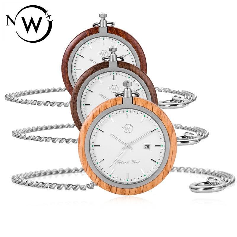 W montre de poche en bois massif noyer/sandale/chêne bois + acier inoxydable hommes homme horloge montres cadeaux uniques unisexe