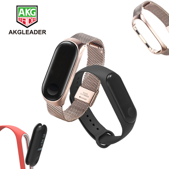 For Xiaomi Mi Band 4 Rubber Bracelet Mi Band 3 Stainless Steel Wrist Strap Pulseira Mi Band 4 Sport Watchband 2 pack