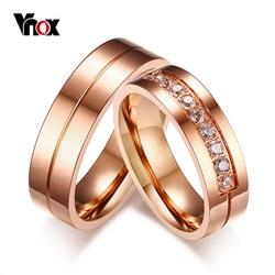Vnox na moda anéis de casamento para mulher/homem amor rosa ouro-cor de aço inoxidável cz promessa jóias personalizado aliança