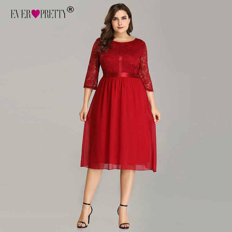 Ever Pretty Burgundy Plus Size Cocktail Dresses EZ07641 Women s Elegant  Half Sleeve Lace A-line efd7d4084