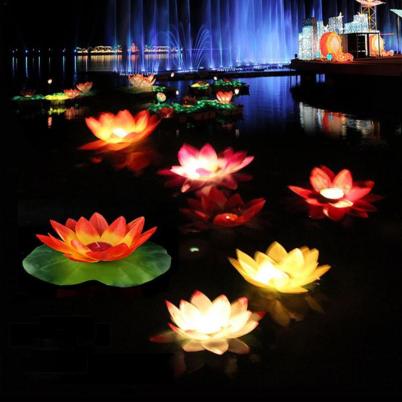 5 Colors LED Flood Lights Artificial Lotus Floating Flower Shaped Lamps For Outdoor River Swimming Pool Blessing Lights