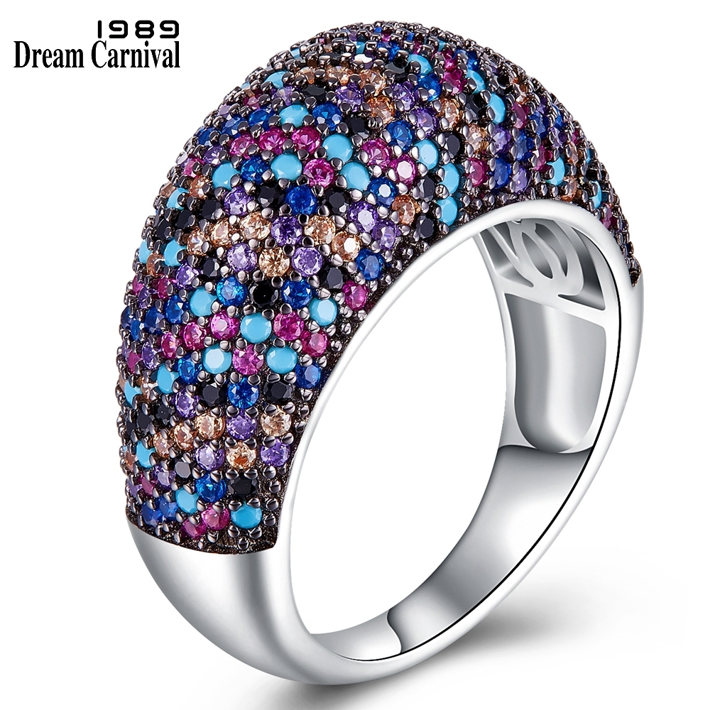 DreamCarnival 1989 Designer Recommend Dome Shape Wedding Band Rings for Women Micro Zirconia Pave Silver Ring