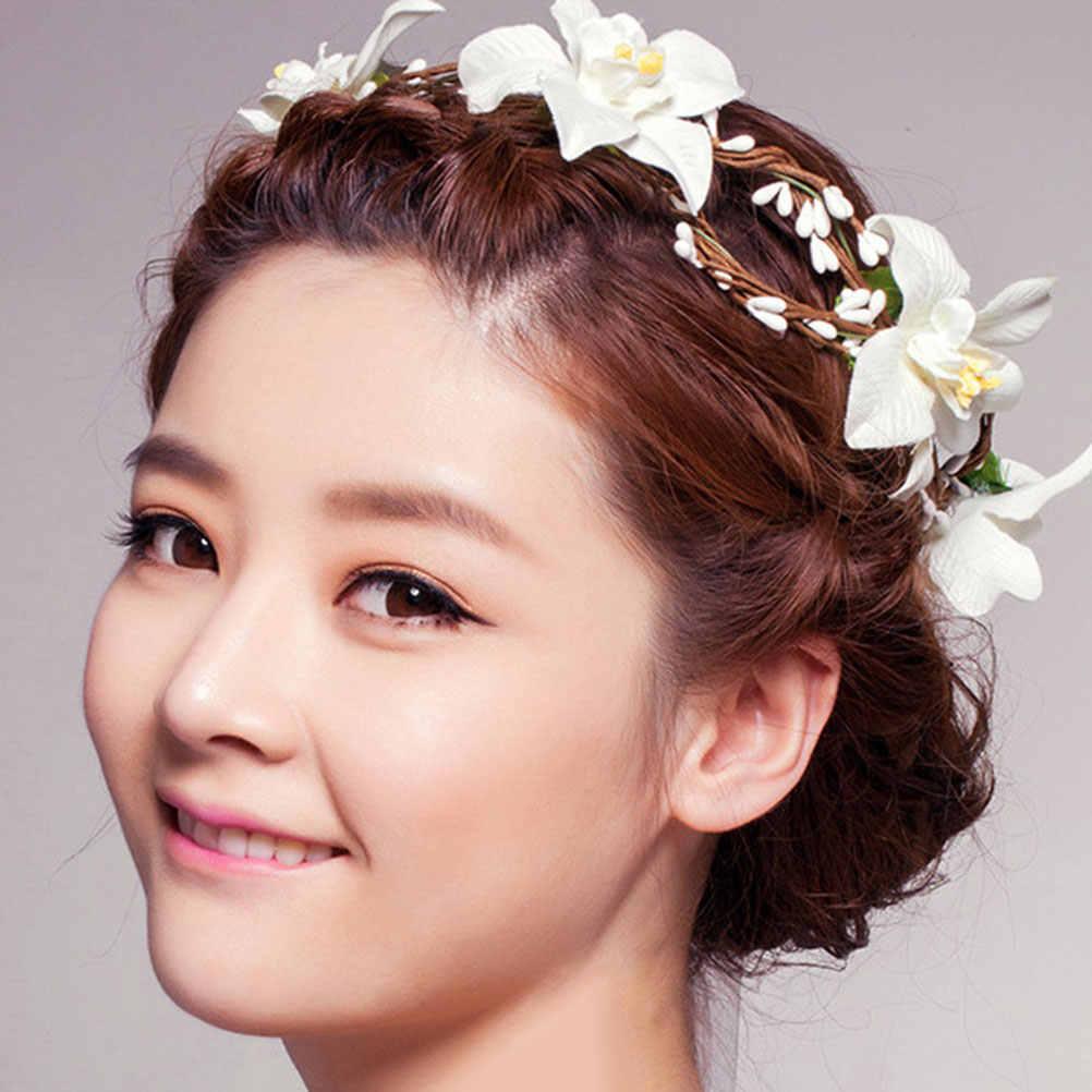 Свадебная повязка на голову искусственный цветок Сладкий Венок Свадебные волосы гирлянда Аксессуары для волос головные уборы для невесты цветок девушки невесты
