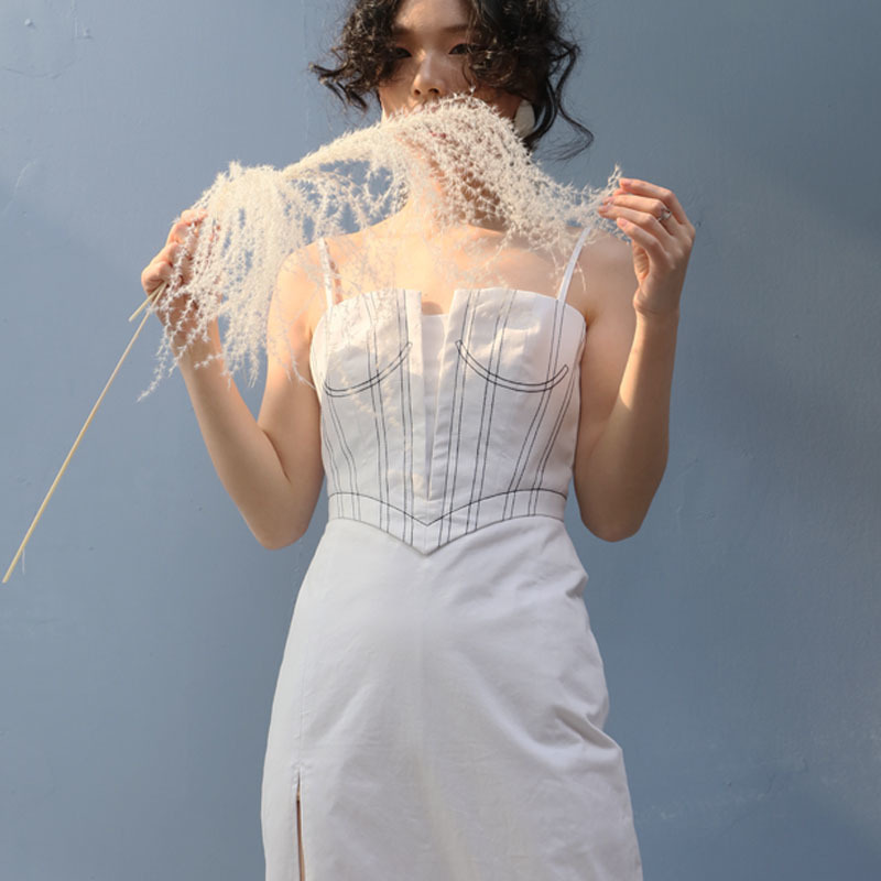 DEAT 2019 New Spring Summer Spaghetti Strap Line Split Joint Irregular Cut High Vent Temperament Dress