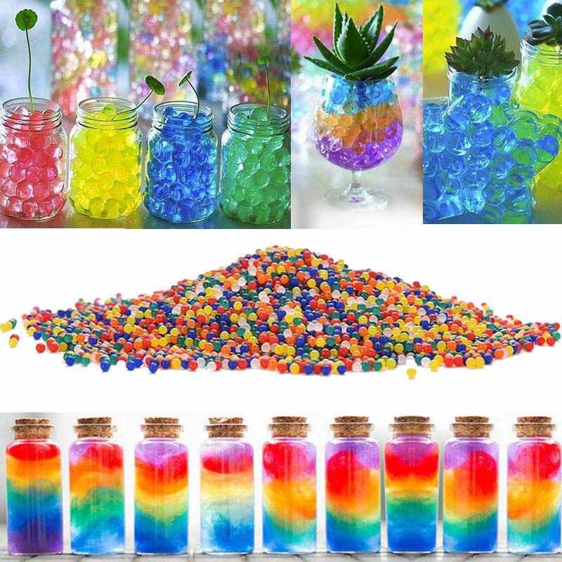 Water Beads Soil Shaped Crystal Soil About 100Pcs /lot Water Beads Mud Grow Magic Jelly Balls Beads Home Decor Wedding Hydrogel