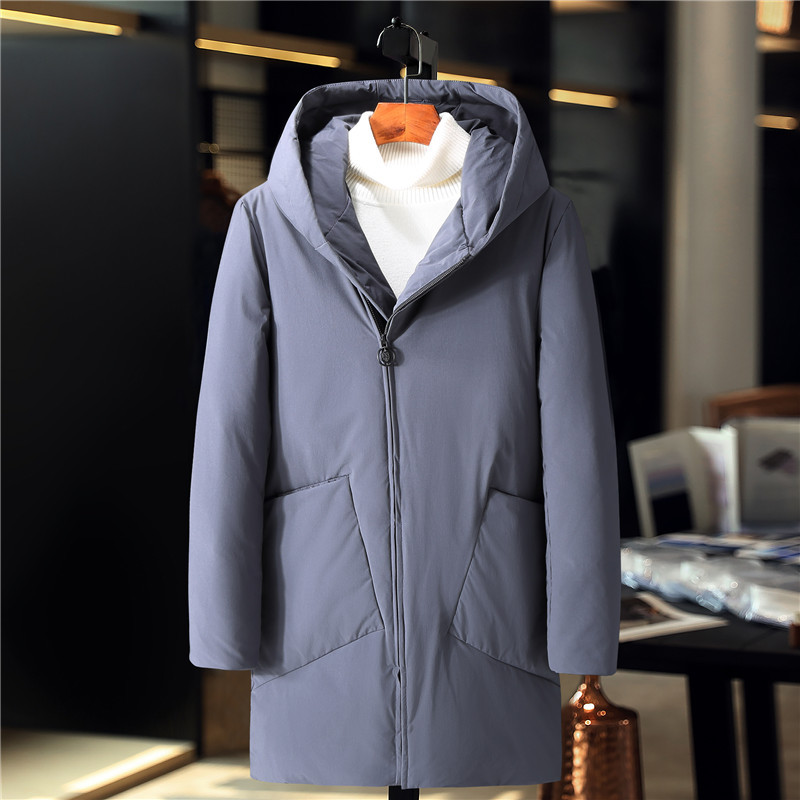 Top Quality Long Male 90% White Duck Down Coat Men's Down Jacket Brand Clothing Hooded  Warm White Duck Down Coat Man