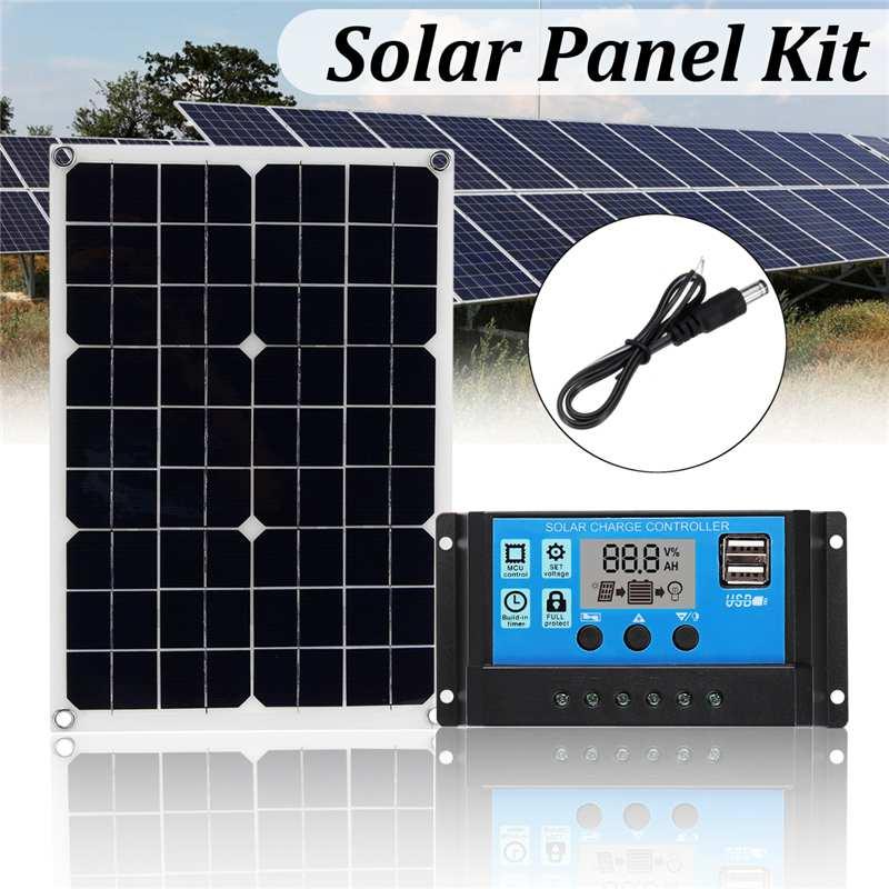 20 W 3in1 Solaire panneau de puissance USB kit panneau solaire 12 V/5 V 10A PWM chargeur solaire Contrôleur 30 cm DC câble mâle