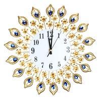 Luxury Big Diamond Peacock Wall Clocks Metal Watch Home Decor Xmas Gift Wall Living room Creative Fashion Silent WallClock