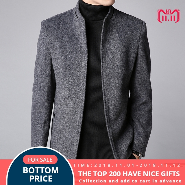 d421fc8f6453 2018 Winter New Fashion Brand Coat Men Slim Fit Wool Peacoat Warm Jackets  Wool Blends Overcoat Designer Casual Mens Clothes
