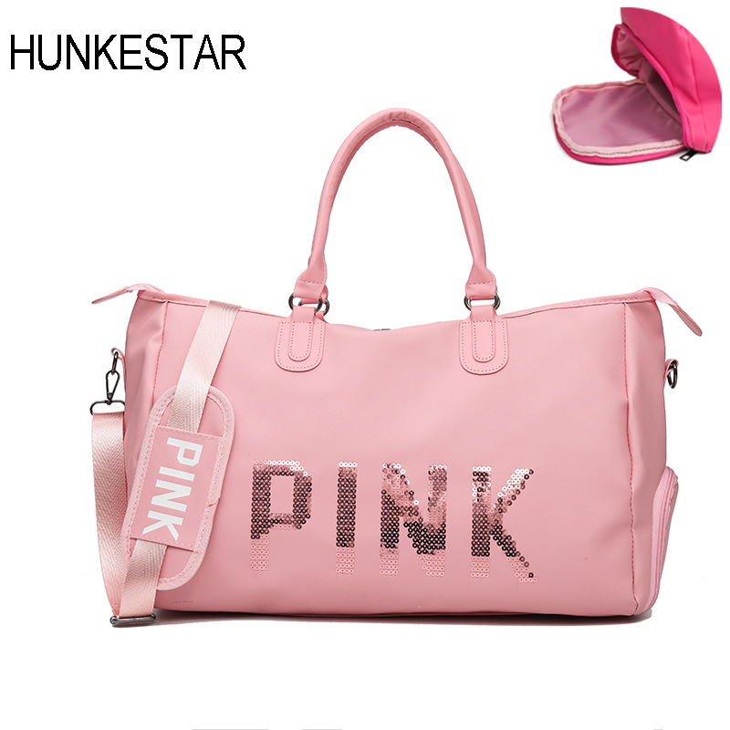 4 Color Pink Red Black Gym Bag Sports Bags For Fitness Women Training Shoes Shoulder Leather Bag Sport Ladies Sequins Letters