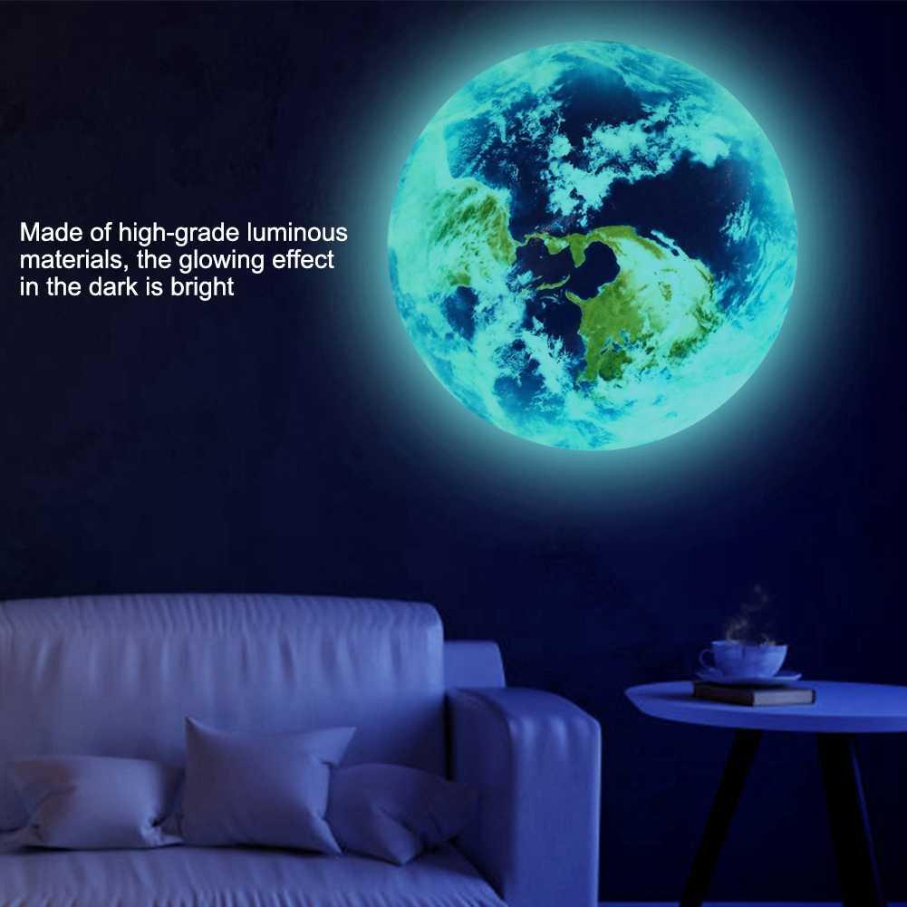 20 см Светящиеся Настенные наклейки земля светится в темноте DIY Наклейка для украшения дома спальни украшения