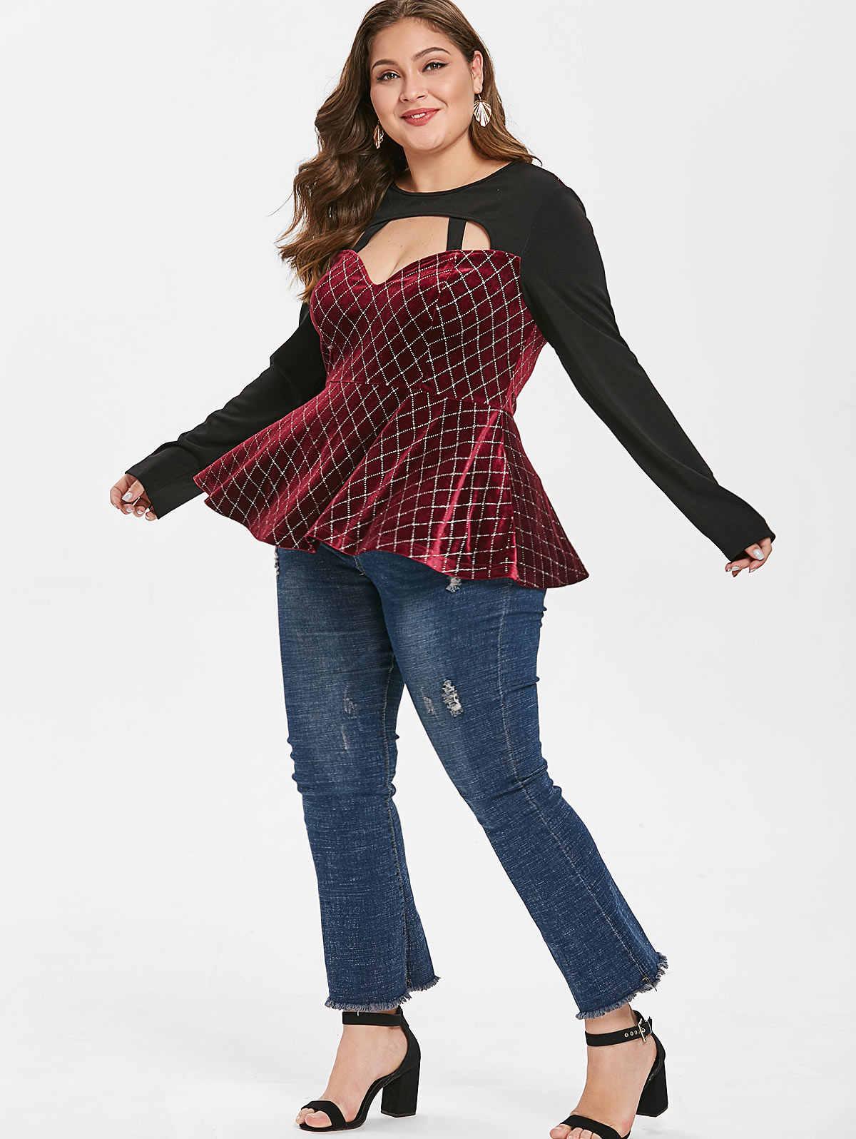 Wipalo, женская футболка, плюс размер, 5XL, с цветным блоком, с вырезом, с круглым вырезом, с длинным рукавом, с высокой талией, в клетку, с юбкой, футболки, повседневные, весенние, с баской, топы
