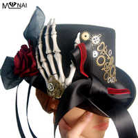 Vintage Retro Skeleton Skull Hat Steampunk Gears Hats Ribbon Lace Fedora Goth Party Festival Accessories