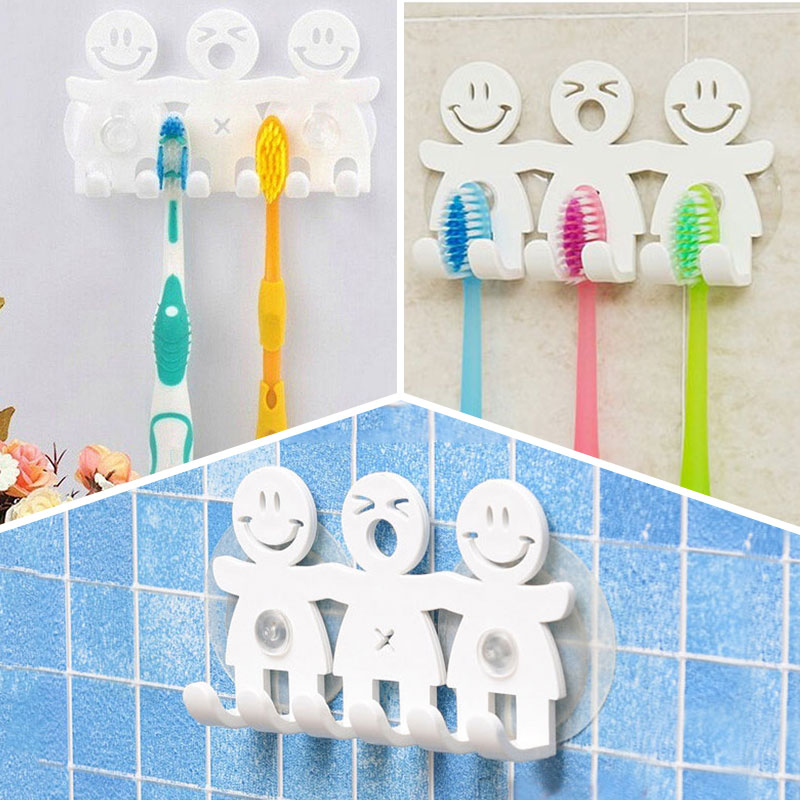 Cute Smiley Face Sucker Tooth Brush Rack Bathroom Set Cartoon Smile Toothbrush Holder Wall Mounted Suction Cup White 5 Positions image