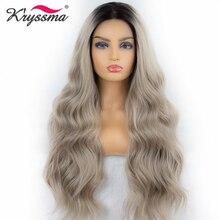 Платиновый блондин парик синтетический парик на кружеве Омбре темные корни длинные волнистые парики для женщин два тона 22 дюйма Термостойкое волокно