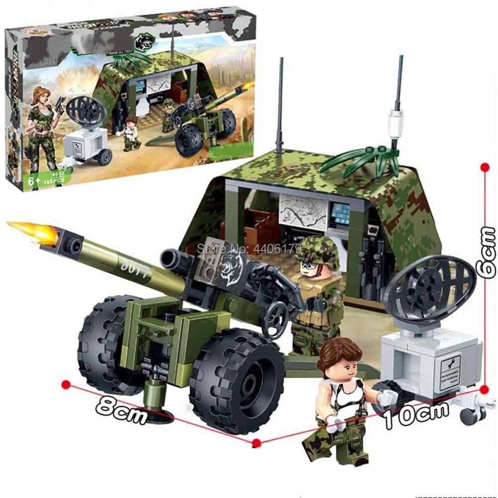 hot LegoINGlys military ww2 Field army Radar station Howitzers war Building Blocks model soldier figures weapon bricks toys gift