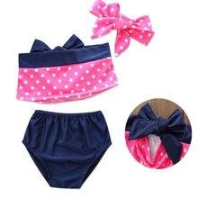 Hot Sale 2019 Summer Cute 3Pcs Kids Baby Girls Dots Pattern Polka Dots Tankini Bikini Swimwear Swimsuit Bathing Suit