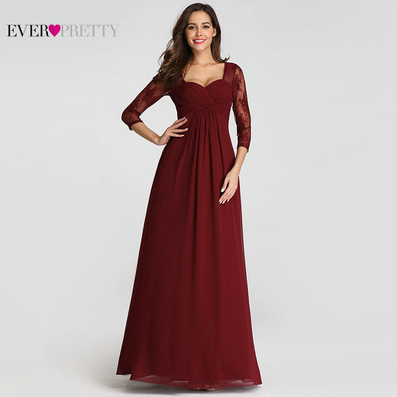 Robe De Soiree Ever Pretty EZ07746 Elegant Lace Sleeve Burgundy Special Occasion Gowns for Wedding Guest 2019   Evening     Dresses