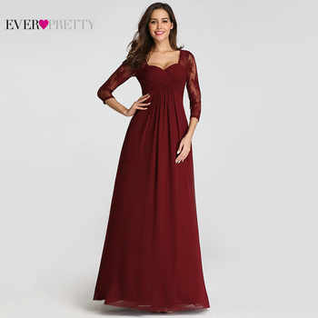 Robe De Soiree Ever Pretty EZ07746 Elegant Lace Sleeve Burgundy Special Occasion Gowns for Wedding Guest 2019 Evening Dresses - DISCOUNT ITEM  30% OFF All Category