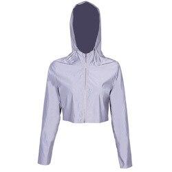Ins noc odblaskowe kurtki damskie bawełniane z kapturem Streetwear kurtka kobiety z długim rękawem przycięte płaszcz Femme luźne Zipper znosić 5