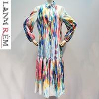 LANMREM 2019 new summer thin women clothes Rainbow printed turn down collar full sleeves long dresses female WG14309M