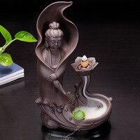 Guanyin Incense Burner Ceramic Backflow Incense Cones Holder Incense Censer Creative Home Office Teahouse Bouddha Decoration