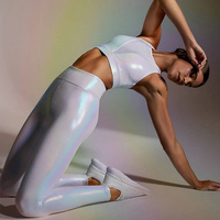Sexy Stretch Leggings Sparkly High Waist Jeggings Fitness Women Workout Pants Shining Slim Legins Sportswear Leather Look Shiny