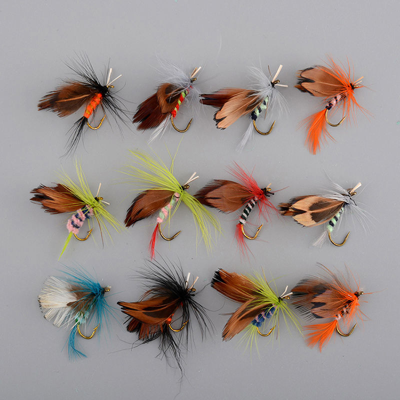 Set Of 12pcs Various Dry Fly Hooks Tool Fishing Trout Flies Fish Hook Lures NEW fishing accessories