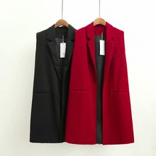 Autumn Sleeveless Blazer Vest 2018 Office Lady Long Waistcoat Women Pocket Red Outwear Jacket