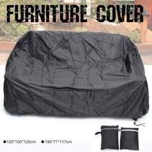 Outdoor Garden BBQ Furniture Cover Waterproof Oxford Wicker Sofa Protection Set Garden Patio Rain Snow Wind Dustproof Black