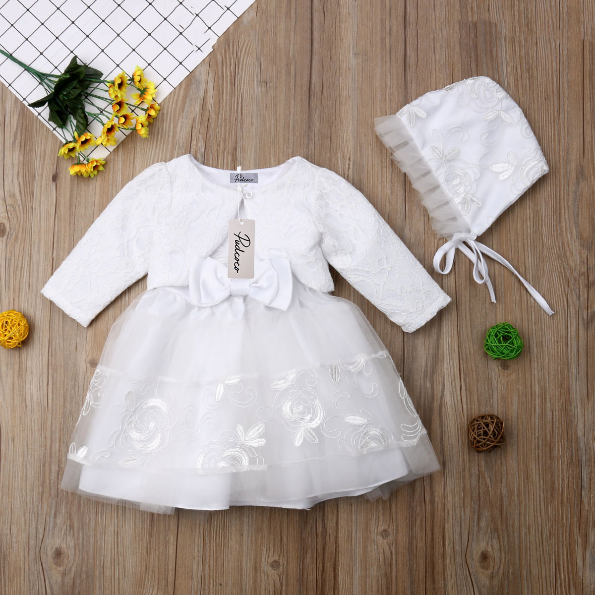 Newbron Lace Clothing Set Casual Princess Baby Girls Dress Flower Christening Wedding Party Kids Clothes in Dresses from Mother Kids
