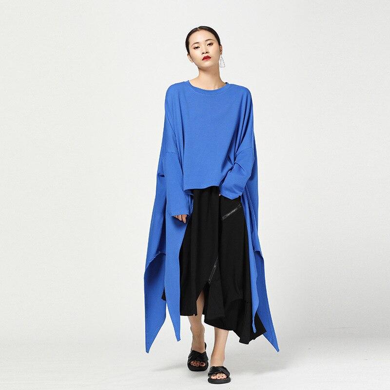 LANMREM 2019 Nouvelle Mode O-cou Persoanality Plein Manches Irrégulière T-shirt Femelle de Type Long Lâche Grande Taille Tops Robe YE686
