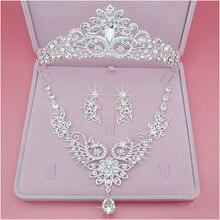 NPASON 2019 Bride Crown Hair Triple Wedding Garment Jewelry, Marriage Headwear Necklace, Earrings, Korean Suit