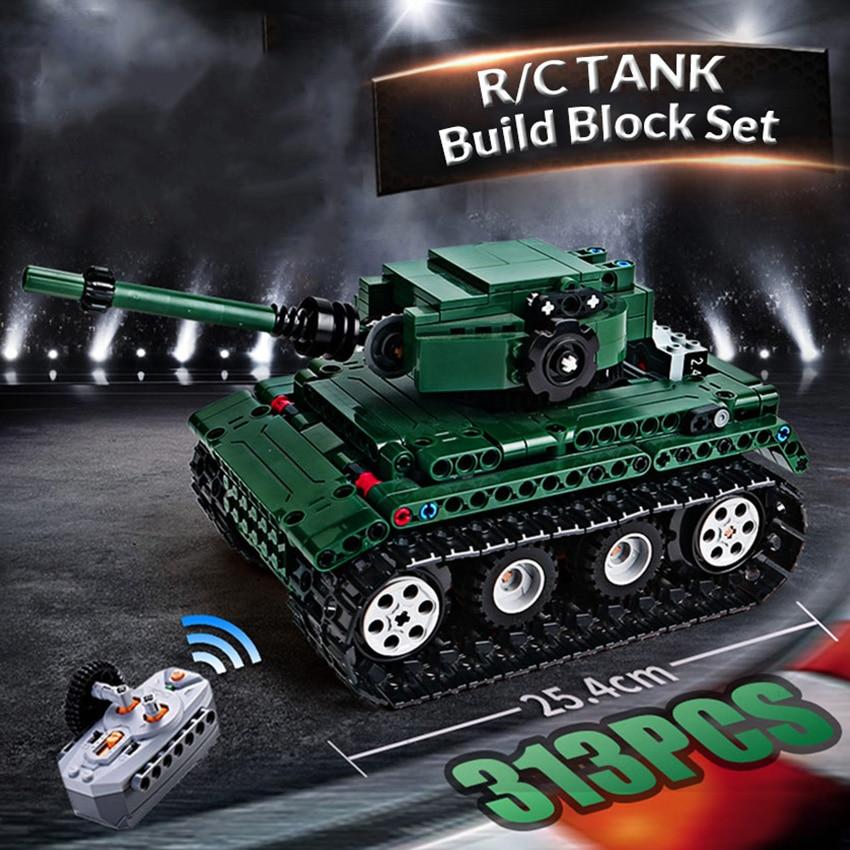 Technic Series 313pcs RC Tank Model Building Blocks Set with Motor WarII Bricks Toys Gift for