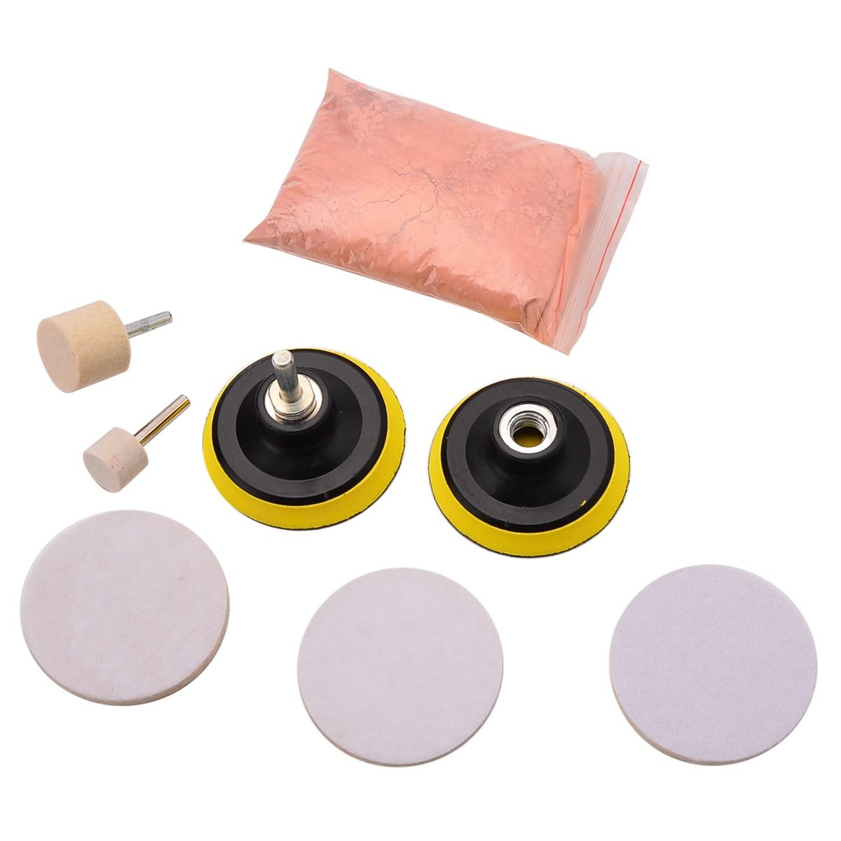 9pcs/set Car Front Window Glass Polishing Pad Kit Glass Scratch Remover 8 Oz Cerium Oxide + 3