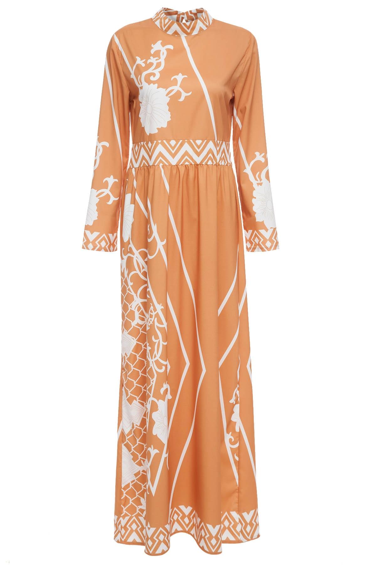Весенне-осеннее платье макси Для женщин с длинными рукавами в стиле ретро платье Стенд воротник Повседневное легкий цветочный Рисунок Плат...