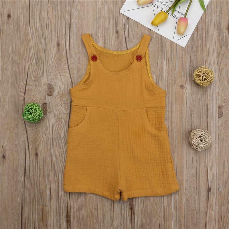 חמוד יילוד תינוקת ללא שרוולים Romper סרבל Playsuit כותנה פשתן תלבושת בגדים חמוד רך חתיכה אחת בגדי 0-3Y 2019