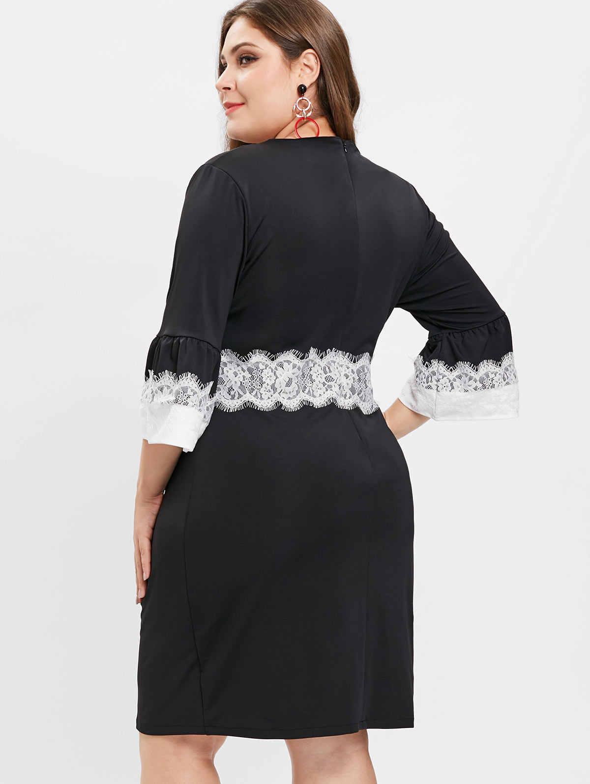 Wisalo женское кружевное платье плюс размер, двухцветное платье-футляр с v-образным вырезом, расклешенными рукавами, облегающее платье ol, женские весенние вечерние платья