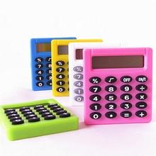 Pocket Cartoon Mini Calculator Handheld Pocket Type Coin Batteries Calculator  silver, blue, green, pink, purple