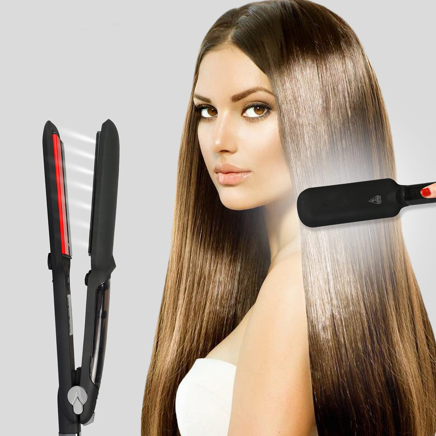EAS Professional Steam Hair Straightener Ceramic Vapor Infrared Heating Flat Iron Salon 2 inch Styling Tool Black EU Plug in Curling Irons from Home Appliances